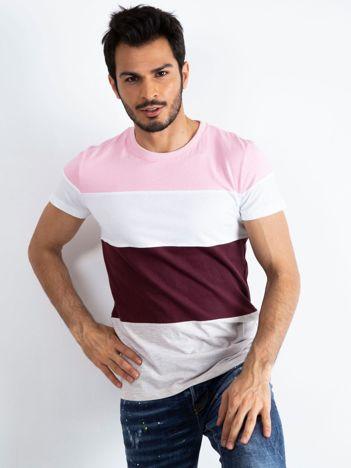 Różowo-bordowy t-shirt męski Modify