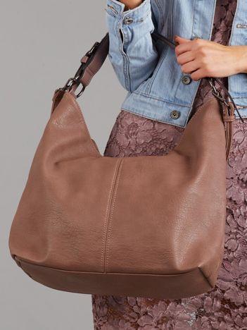 Różowo-brązowa duża torba z paskiem