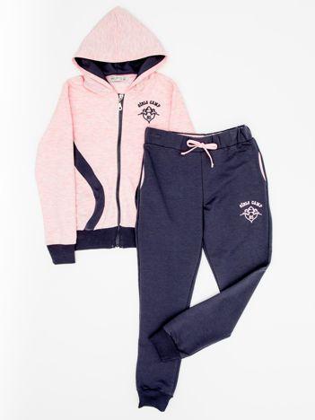 Różowo-grafitowy komplet dla dziewczynki spodnie i bluza