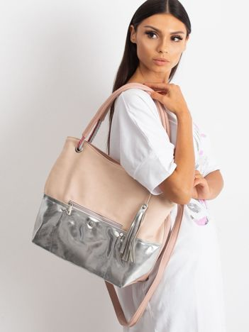 Różowo-srebrna torba miejska