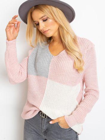 Różowo-szary sweter Latina