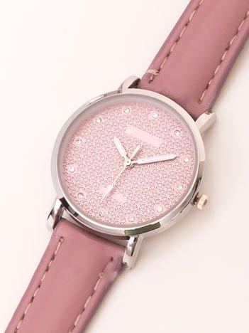Różowy Mały Zegarek Damsk Z Kryształami Na Tarczy