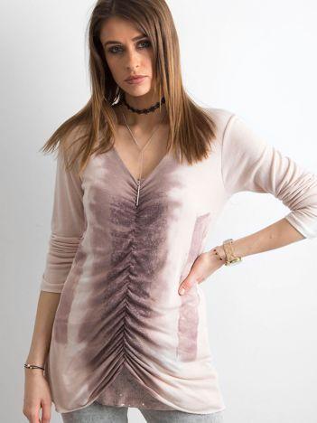 Różowy cienki sweter z błyszczącymi drobinkami