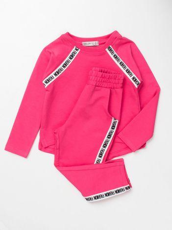 Różowy komplet dresowy dla dziewczynki bluza i spodnie