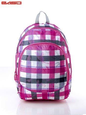 Różowy plecak szkolny dla dziewczynki w kratkę