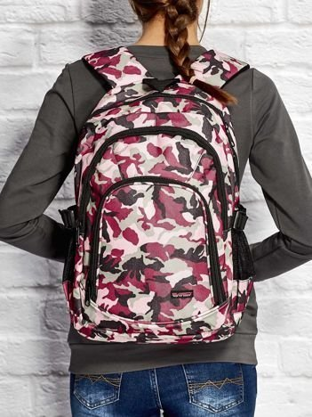 Różowy plecak szkolny dla dziewczynki z motywem moro