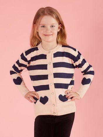 Różowy sweter dla dziewczynki w paski