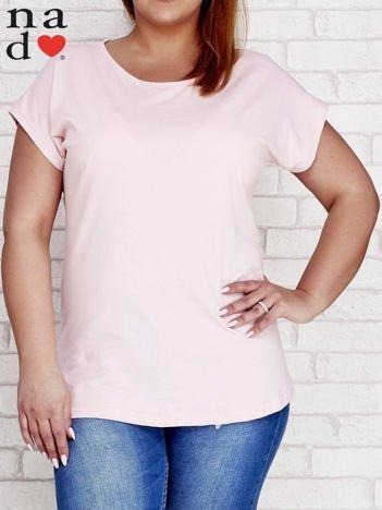 Różowy t-shirt basic PLUS SIZE