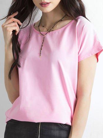 Różowy t-shirt z bawełny