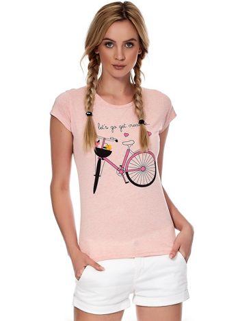 Różowy t-shirt z rowerem
