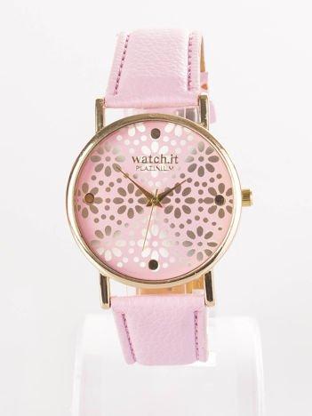 Różowy zegarek damski z kwiatową tarczą