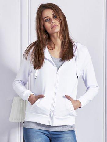 Rozpinana bluza dresowa z kapturem biała