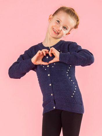 Rozpinany sweter dziewczęcy z perełkami granatowy