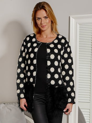 Rozpinany sweter w grochy z futerkiem na dole czarny