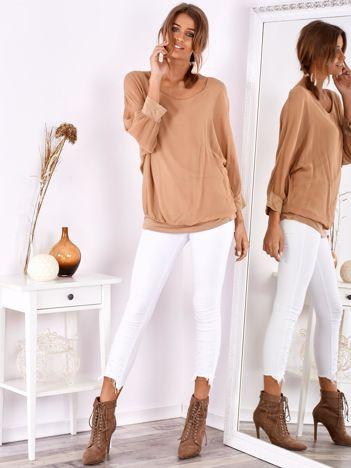 SCANDEZZA Beżowa bluzka oversize z jedwabiem
