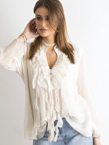 SCANDEZZA Beżowa bluzka z żabotem