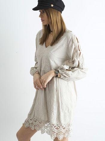 SCANDEZZA Beżowa luźna sukienka