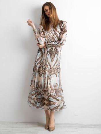 SCANDEZZA Beżowa sukienka maxi we wzory