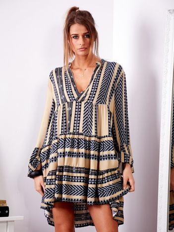 SCANDEZZA Beżowa sukienka we wzory