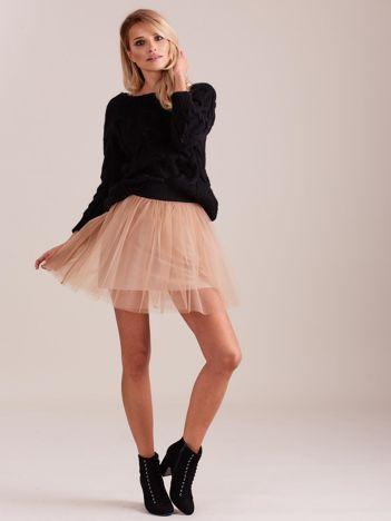 SCANDEZZA Beżowa tiulowa spódnica mini