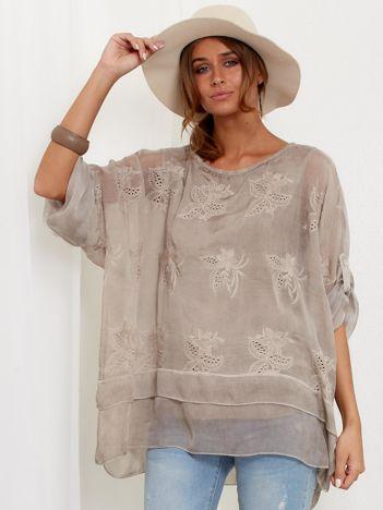 SCANDEZZA Beżowa zwiewna bluzka oversize z haftem