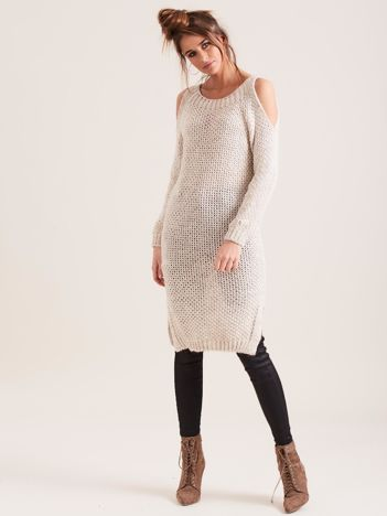 SCANDEZZA Beżowy sweter cold arms