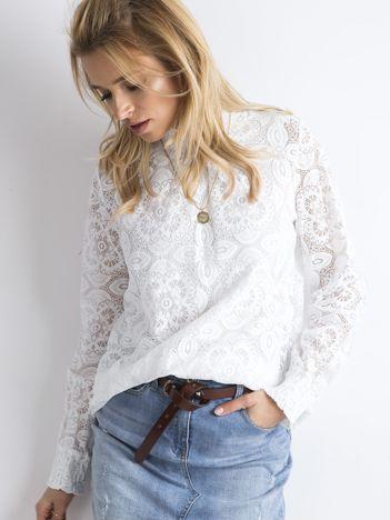 SCANDEZZA Biała koronkowa bluzka