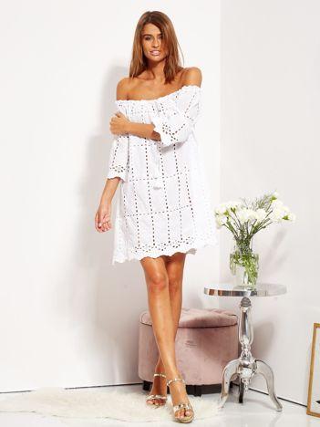 SCANDEZZA Biała sukienka hiszpanka z boho troczkiem i haftem