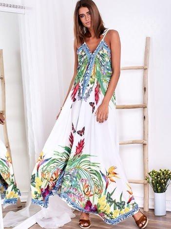 SCANDEZZA Biała sukienka z kolorowym kwiatowym printem