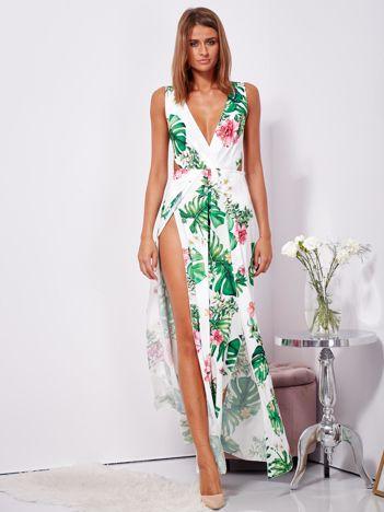 SCANDEZZA Biało-zielona sukienka maxi floral print z rozcięciem