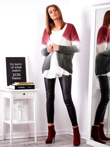 SCANDEZZA Bordowy sweter ombre