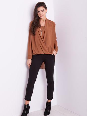 SCANDEZZA Brązowa asymetryczna bluzka