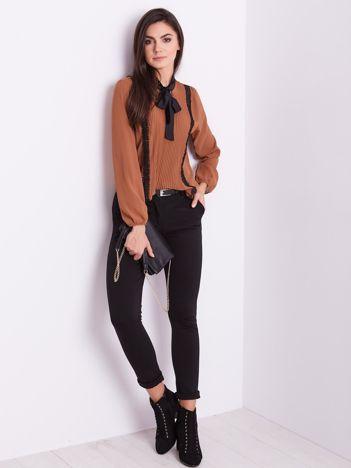 SCANDEZZA Brązowa elegancka bluzka