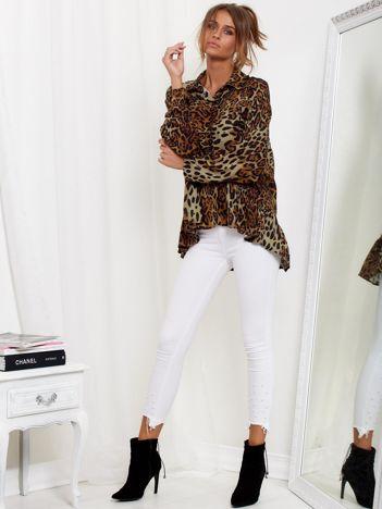 SCANDEZZA Brązowa koszula w panterkę z falbaną
