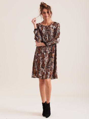 SCANDEZZA Brązowa sukienka snake skin