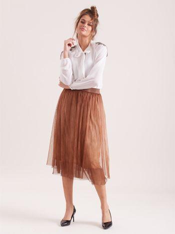 SCANDEZZA Brązowa tiulowa spódnica