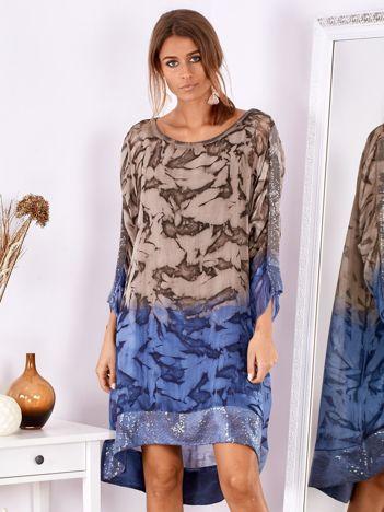 SCANDEZZA Brązowo-niebieska sukienka ombre z jedwabiem