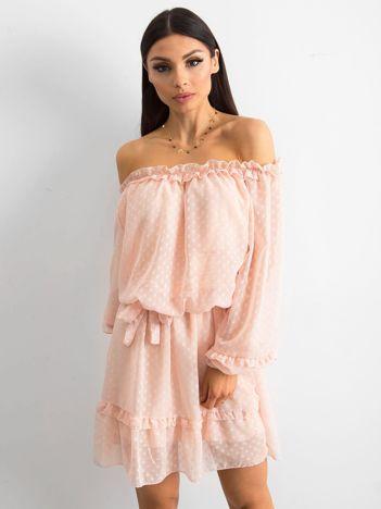 SCANDEZZA Brzoskwiniowa sukienka hiszpanka z wiązaniem