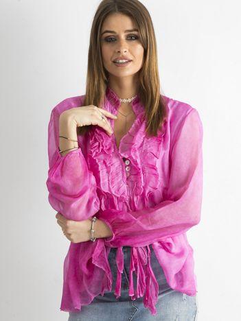SCANDEZZA Ciemnoróżowa bluzka z żabotem