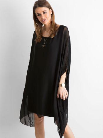SCANDEZZA Czarna asymetryczna sukienka