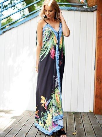 SCANDEZZA Czarna sukienka z kolorowym kwiatowym printem