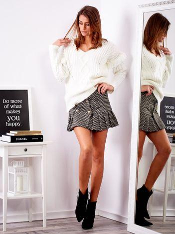 SCANDEZZA Czarna wzorzysta spódnica mini