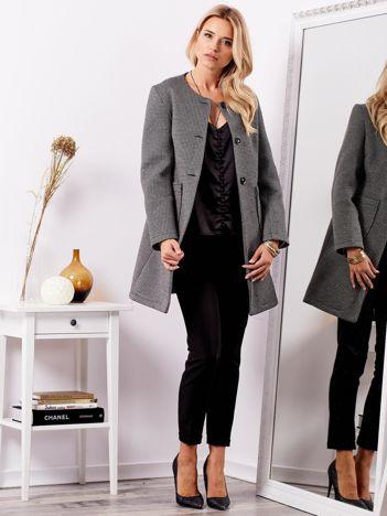 SCANDEZZA Czarny elegancki płaszcz w delikatne wzory