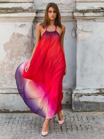 SCANDEZZA Czerwona długa sukienka wiązana na szyi