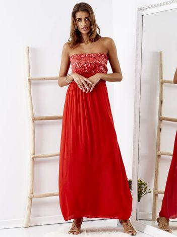 SCANDEZZA Czerwona sukienka maxi z cekinową górą