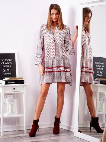SCANDEZZA Fioletowa sukienka we wzory