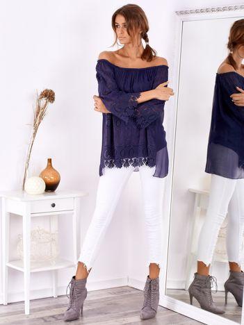 SCANDEZZA Granatowa bluzka hiszpanka boho z jedwabiem