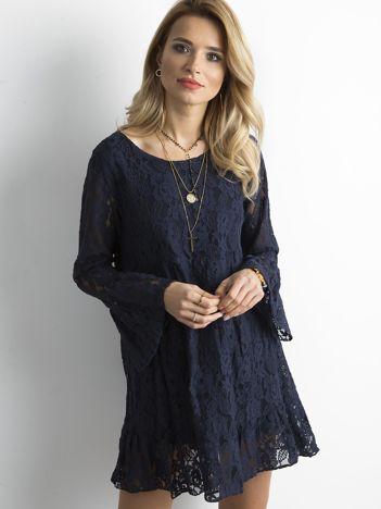 SCANDEZZA Granatowa koronkowa sukienka
