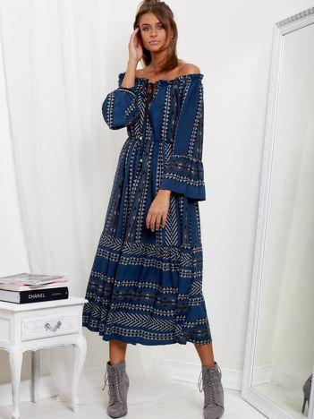 SCANDEZZA Granatowa sukienka maxi hiszpanka ze wzorem