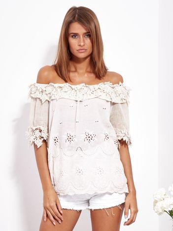 SCANDEZZA Jasnobeżowa bluzka hiszpanka z haftem i perełkami